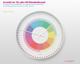 Learning clock + daily planner rainbow color colorful minimalist