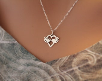 Sterling Silver Love Bird Charm Necklace, Love Bird Necklace, Silver Love Bird Necklace, Love Birds Necklace, Valentines Day Necklace