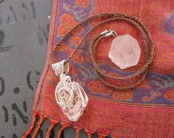 Dwarven Crystal // Chunky Quartz Crystal Point Wire Wrap Necklace // Hemp