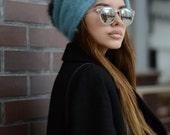 Angora knit hat Winter slouchy hat Gift for her Winter hat Oversized knitted hat Fur pompom beanie Women hats Fur pompom hat Valentines gift