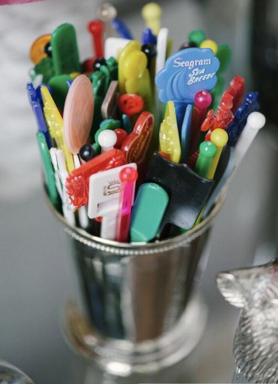 Grab Bag Vintage Swizzle Sticks : Mid Century Drink Stirrers