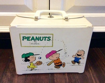 1972 Peanuts Vinyl Lunchbox & Thermos, Snoopy Lunch Box, Charlie Brown Vinyl Lunch Box, Vintage Kids Lunchbox, Vintage Vinyl Lunch Box