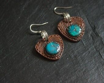 Ethnic Leather & Turquoise Earrings