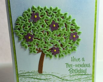 """Playful Hand Stamped """"Tree-Mendous"""" Birthday Card"""