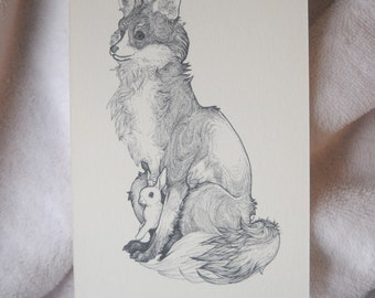 Fox and Bunny Drawing, Fox and Bunny Postcard, Fox and Bunny Art, Fox and Rabbit Illustration, Cute Fox and Bunny, Fox and Rabbit Art