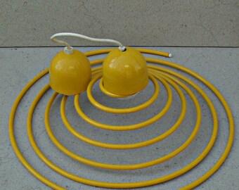 Vintage yellow coil pendant light ,hanging spiral coil pendant light , yellow steel spiral light .