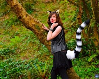 "Lemur Ears & Tail Set! Black + White Stripy 40"" Long Perky Tail and Ear Headband! Ringtail Raccoon Striped Cat Big Fursuit Tiger Stick Up"