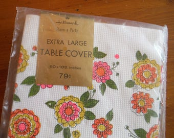 Vintage Hallmark Floral Paper Tablecloth - 1970's Mod Neon Flowers Hallmark Plans-A-Party Paper Tablecloth Extra Large Table Cover
