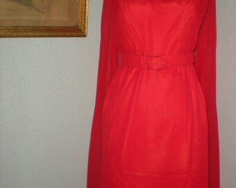 Vtg 50's Red Goddess Dress by Carol Craig Knee Length Sheath Close Fitting with Watteau Fly Away Panels Size 8