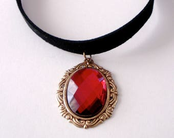 Ruby Red Choker, Ruby Red Glass Pendant Black Velvet Choker, Victorian Gothic Choker, Ruby Red Black Velvet Choker Necklace, Gift for Her