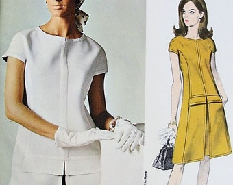 MOD 60s FABIANI Dress Pattern VOGUE Couturier Design 1630 Lovely Two Pc Dress Bust 36 Vintage Sewing Pattern