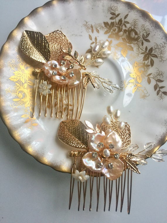 Rose Gold Gilded Comb, Bridal Comb Set, Wedding Hair Comb, Pearl Hair Comb, Decorative Comb Set, Bridal Headpiece- PANSY PEARL Combs