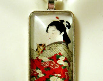 Geisha and her cat pendant and chain - CAP16-105