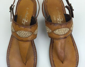 leather thong wedge sandals w/ woven trim Brazil 8M 70s
