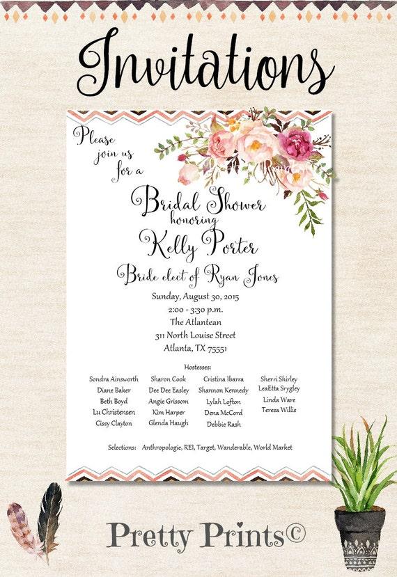 Boho Invitations, Wedding Shower Invitations, Baby Shower Invitations, Floral Invitations, Party Invitations, Birthday Invitations