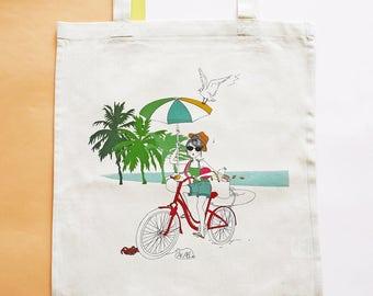 Playa: organic cotton printed tote bag