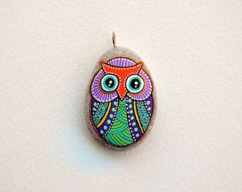 I Sassi dell'Adriatico - Hand Painted (Adriatic Sea) Stone Owl Pendant