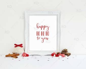 Happy Ho Ho Ho To you - PRINTABLE Wall Art / Christmas Lyrics printable / Holiday wall art / Christmas Wall Art / Xmas / 5 for price of 1!