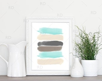 Paint Strokes - PRINTABLE Wall Art / Mint Cream Grey and Neutral Paint Strokes Wall Art / Paint Stripes Wall Print / Watercolor Strokes Art