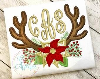 Poinsettia Antlers Applique Digital Machine Embroidery Design 4 sizes! poinsettia flower applique, antlers applique, pointsetta applique