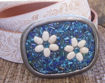 belt buckles embellished belt buckle beaded belt buckles white stone flower blue turquoise Sparkly Bohemian belt buckle boho Belt Buckle