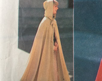 1960s Hooded Cloak, Vintage Sewing Pattern, Simplicity 6839, Misses Cape , Hood, One size, Cut