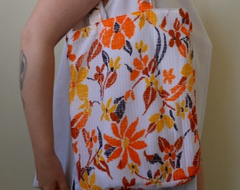 Hand made tote of vintage 70s colorful floral fabric