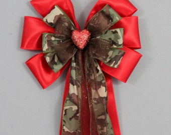 Red Sparkle Heart Camo Valentines Day Bow - Birthday Gift Wrap Bow