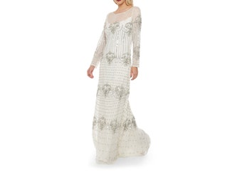 US16 UK20 AUS20 EU48 Plus Size White Silver Wedding Gown Prom Maxi Dolores Dress with Sleeves 20s Great Gatsby Reception Beach wedding New