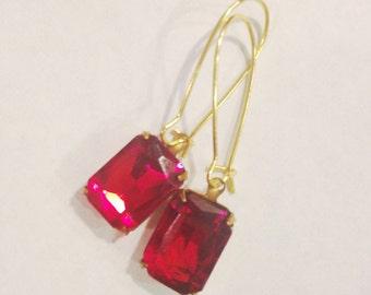Vintage Crystal Earrings in Ruby, Siam Crystal Earrings, One Of A Kind, Ruby & Gold Earrings, Rectangle Cut Earrings, Siam Earrings