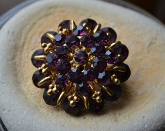 Purple Rhinestone Brooch