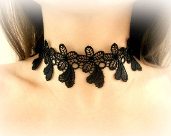 Black lace choker, black floral lace necklace, embroided lace choker, black flowers necklace, lace flowers necklace, lace jewelry