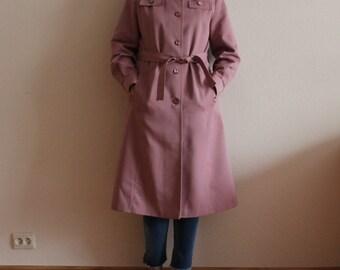 Vintage Coat Women's Coat Pink Women Trench Coat Belted Lining Trenchcoat Overcoat Raincoat  Preppy  Medium Size