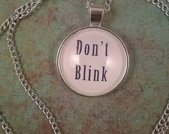 Don't Blink Necklace, Doctor Who pendant, doctor who Weeping Angels, Don't blink jewelry, Doctor who Jewelry, tardis blue Necklace, stone