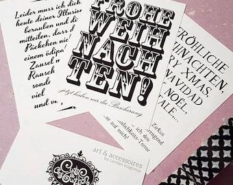 "cute as a button ""Frohe Weihnachten / Merry X Mas"" A7 cards 3 pieces-Set"