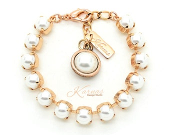 CRYSTAL WHITE PEARL 8mm Bracelet Made With Swarovski Elements *Pick Your Finish *Karnas Design Studio *Free Shipping*