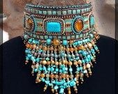 Boho style seed bead embroidered choker with fringe - Bead embroidered necklace with natural stones - Statement necklace