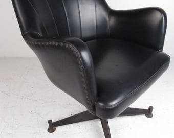 Mid-Century Modern Black Vinyl Swivel Lounge Chair (8662)NJ