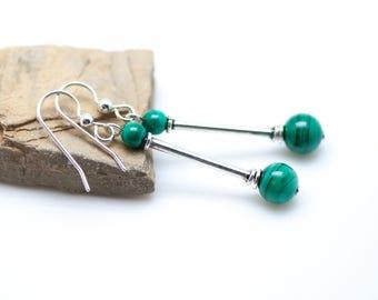Malachite and Bali Silver Earrings, Green Malachite Earrings, Natural Stone, Dangly, Sterling Silver & Green Earrings, Long Slender Earrings