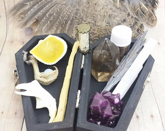 Coffin Witch Box Protection Collection. .......................mini travel altar, beginner oddities collection, weird oddities, bone jewelry