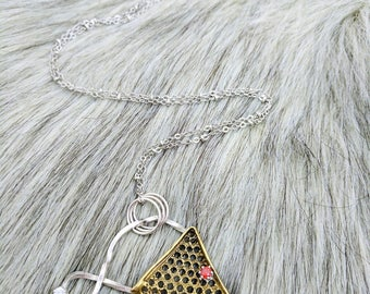 Balanced. Mixed Metal Mesh Necklace with CZs.................................................triangle geometric silver white red boho hippie