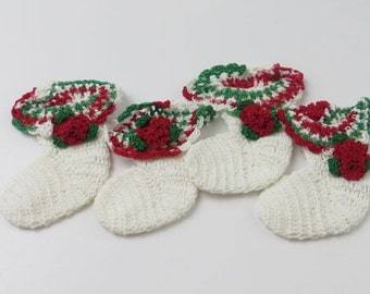 Vintage Hand Crocheted Miniature Christmas Stocking Ornaments, Set of 4