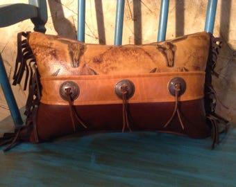 Leather Western Longhorn Throw Pillow