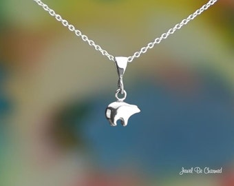 """Tiny Sterling Silver Zuni Bear Necklace 16-24"""" or Pendant Only .925"""
