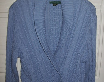 Vintage Ralph Lauren Cable Knitted Wrap Sweater Sky Blue Size Large  - XL