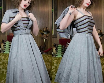 1940s Sundress | 40s Dress | 1940s Dress | 40s Cotton Dress | 40s Dress Set | 40s Grey Dress | 40s Striped Dress | 40s Gray Dress | 25.5""