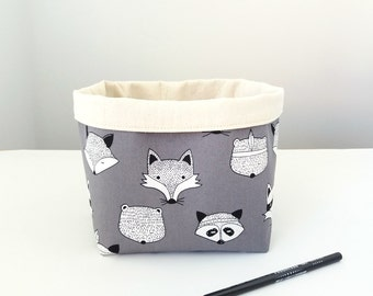 Toys storage basket, Woodland animal faces, Cute nursery storage basket, Monochrome nursery decor, Storage bin, Fabric basket, Planter cover
