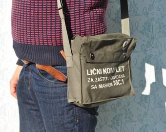 Army bag, military bag, canvas military bag, vintage Yugoslavian army bag, green army bag, green canvas army bag, 70s army bag
