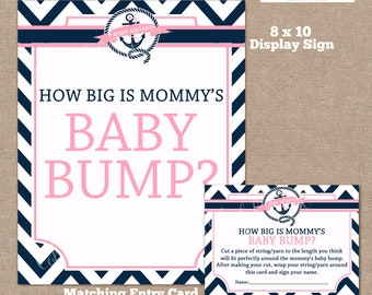 INSTANT DOWNLOAD, Nautical How Big is Mommy's Belly Game, Belly Guessing Game, How Big is Mommy's Belly, Nautical, Pink, #0012