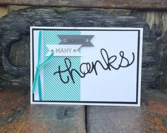 Many Many Thanks, Thank you, Gratful, Gratitude, Much Obliged, Cheers, Ta, Kind, Generous, Masculine, Male, Green, Grey, Washi Tape, Blank